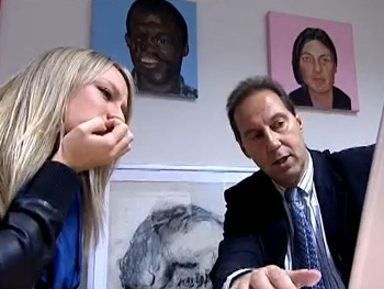 Chloe Madely visits Prof Hutchison to see first-hand the effect smoking can have. Still from Celebrity Quitters.