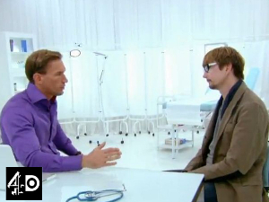 Josh meets Dr Christian. Still from Embarrassing Bodies Stand Up to Cancer Special