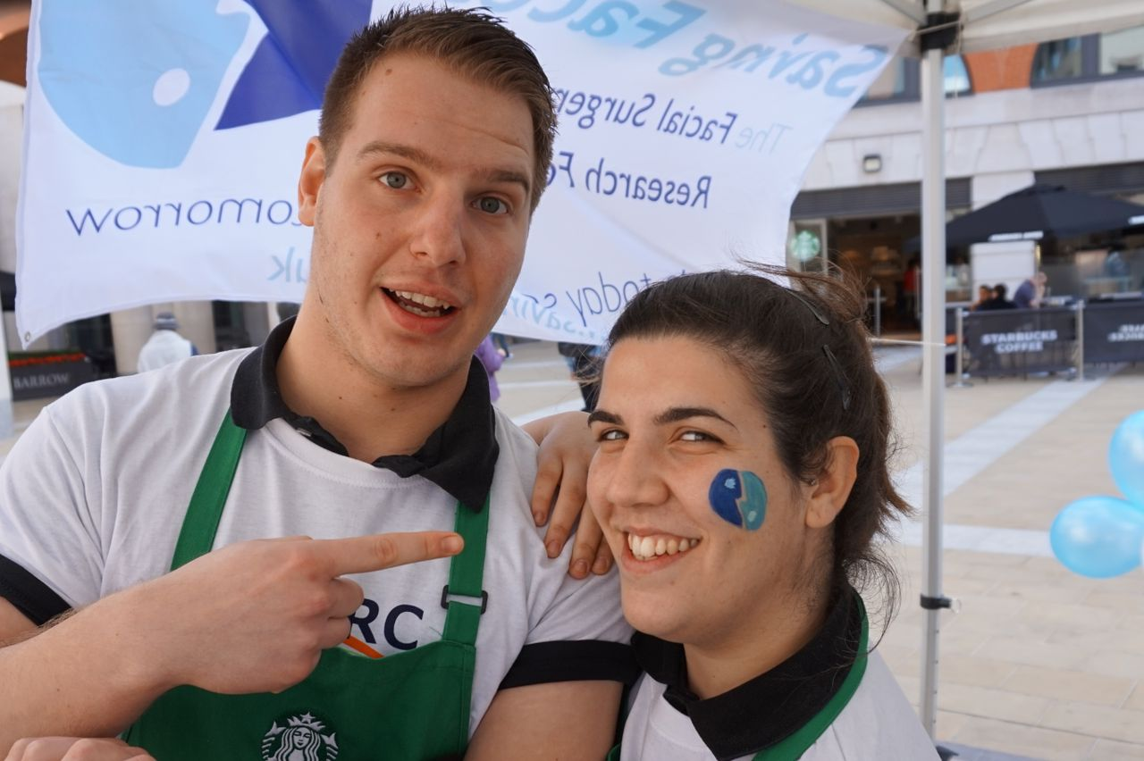 Starbucks staff got into the spirit donning NFORC t-shirts and painting their faces
